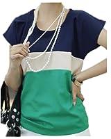 Women Summer Stripe Chiffon T-Shirt Short Sleeve Casual Tops Blouse
