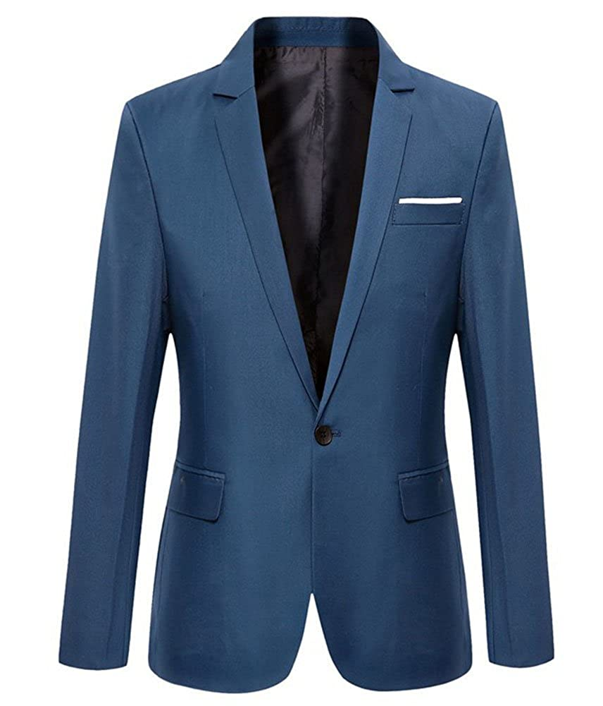 Fankeshi Mens Casual Slim One Button Solid Blazer Suit Jacket