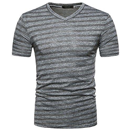 Sunhusing Men's Summer Striped Print Splicing Short Sleeve Top Casual V Neck Pullover T-Shirt Blouse