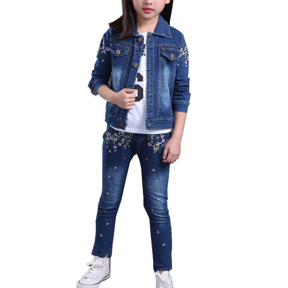 Vividda Kids Girls Clothing Set Embroidered Flower Denim Jacket + Jeans Pants Suit Outfit Age 6-14 Years