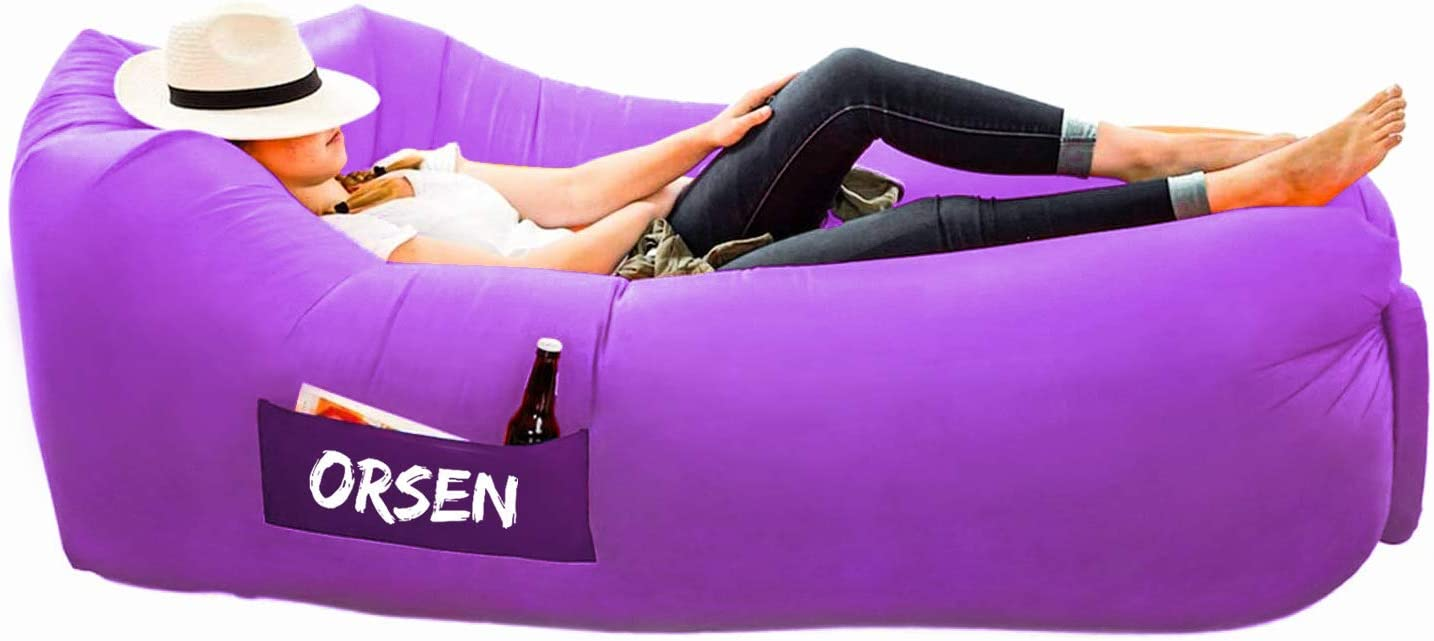 Orsen Inflatable Lounger Waterproof Air Sofa Chair with Carry Bag,Inflatable Couch Air loungers Lazy bag for Indoor//Outdoor Camping,Beach,Swimming Pools,Park,Garden,Travelling etc