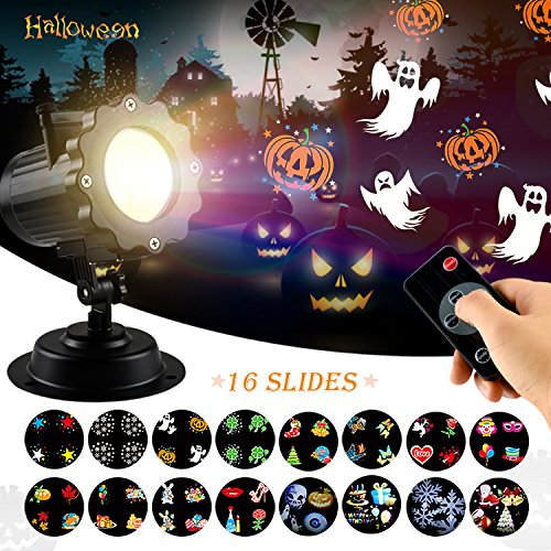 Halloween LED Light Projector - Skillink Waterproof Landscape Spotlight Outdoor and Indoor Party Lights with 16 Interchangeable Slides for Christmas Halloween Birthday Wedding Party