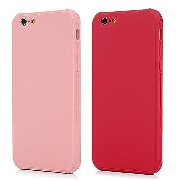 2x Funda iPhone 6, iPhone 6s Carcasa Silicona Gel Case Ultra Delgado TPU Goma Flexible [Cámara Protección] Cover para iPhone 6/6s, Rosa + Rojo
