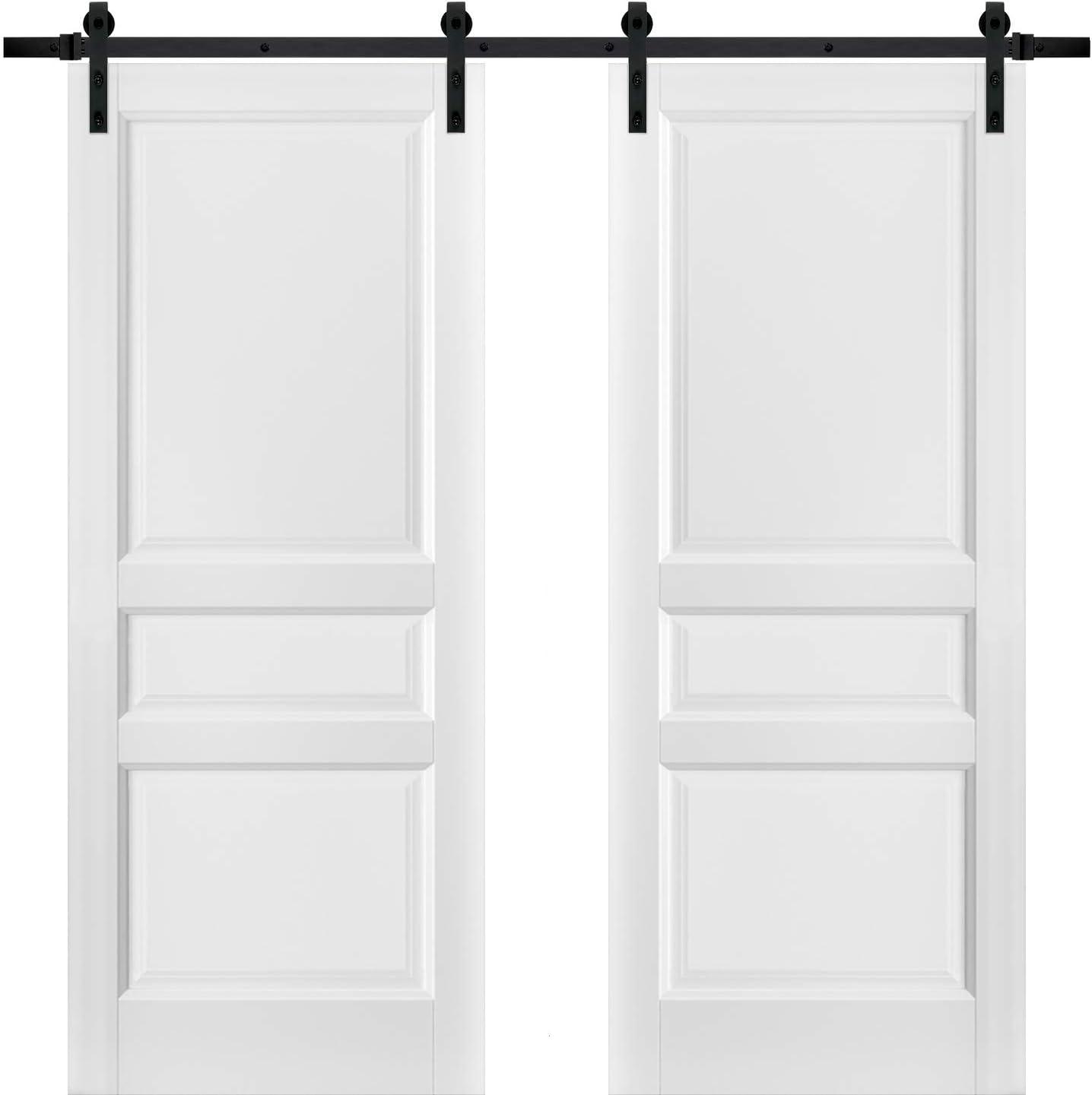 Puertas correderas de granero doble con herrajes | Lucia 31 blanco ...