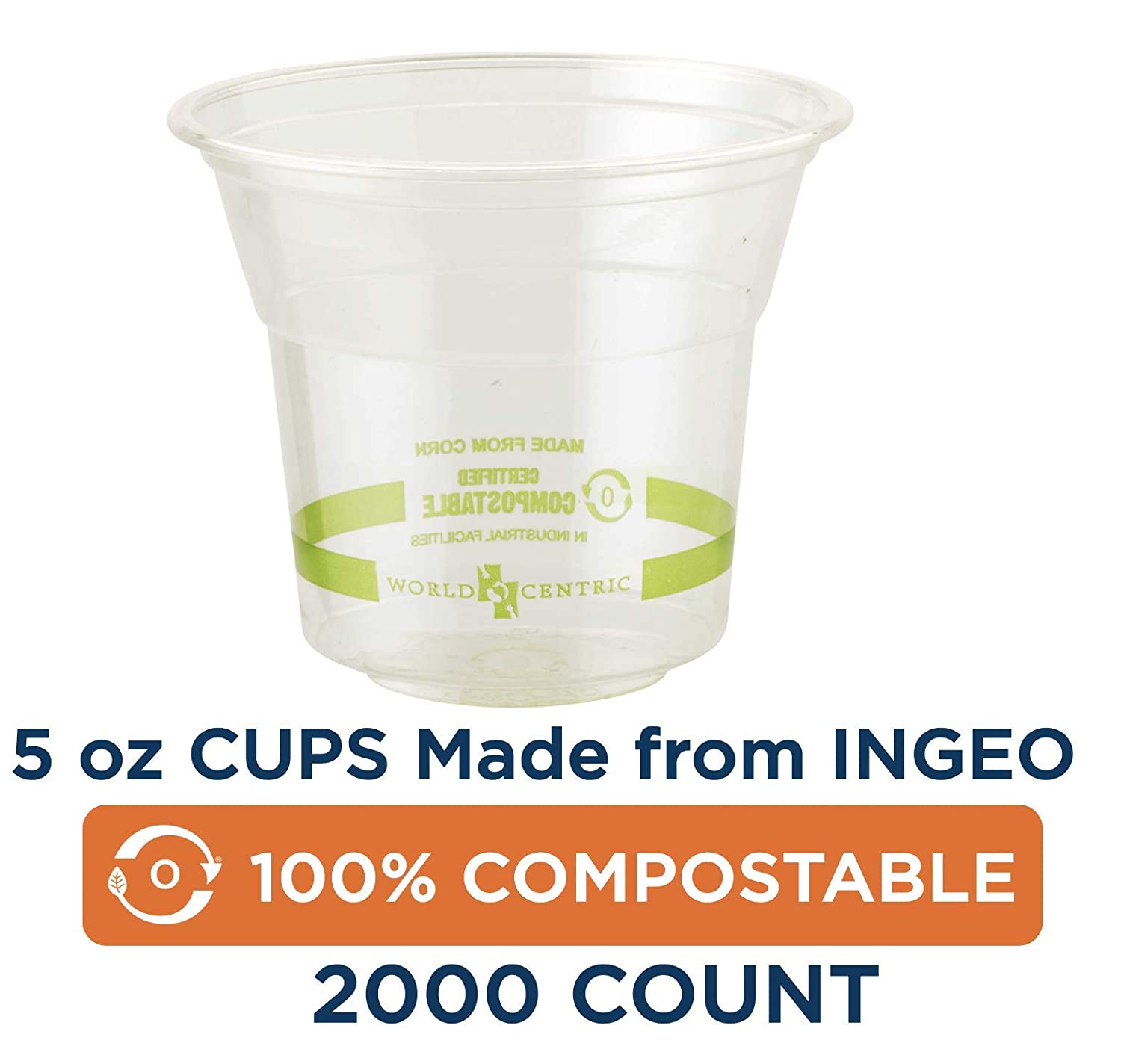 100% Compostable Cups by World Centric, Made from Ingeo PLA, for Cold Drinks, Clear, 5 oz (Pack of 2000) 619Uzncry2BL._SL1500_