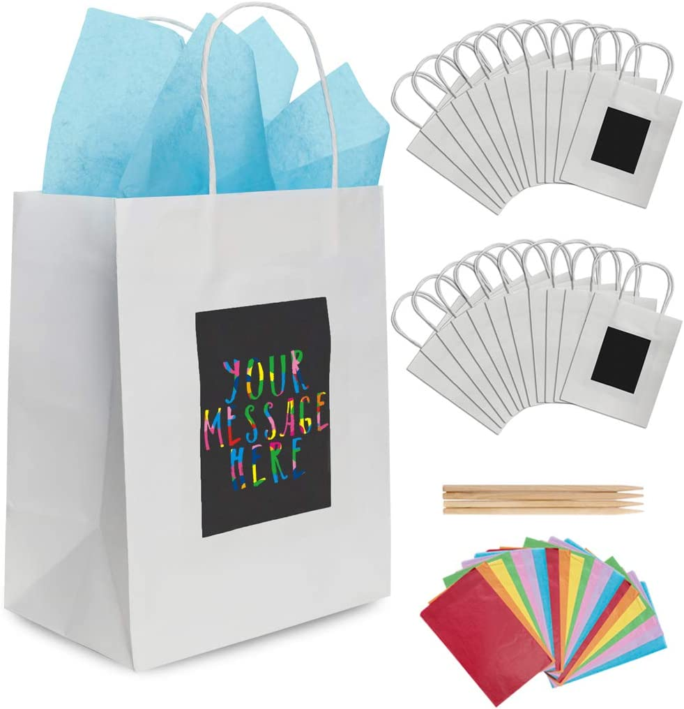 Party Bags Retail Bags Black, 5.9x3.15x8.28 Kraft Bags 25 Pcs Kraft Paper Gift Bags with Handles Shopping Bags Recycle Paper Bags LANSONTECH Gift Bags