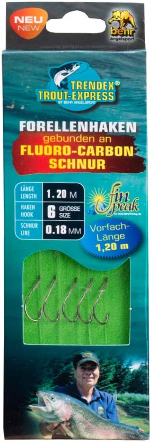 Sbirolino Haken. 20 Haken inkl MiRoeFishing Profi Angelhakenset mit gebundenem Vorfach an Fluoro-Carbon Schnur zum Angeln auf Forelle
