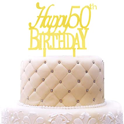 Happy 50th Birthday Cake Topper Acrylic Gold Mirror For Anniversary Party Decorations Supplies
