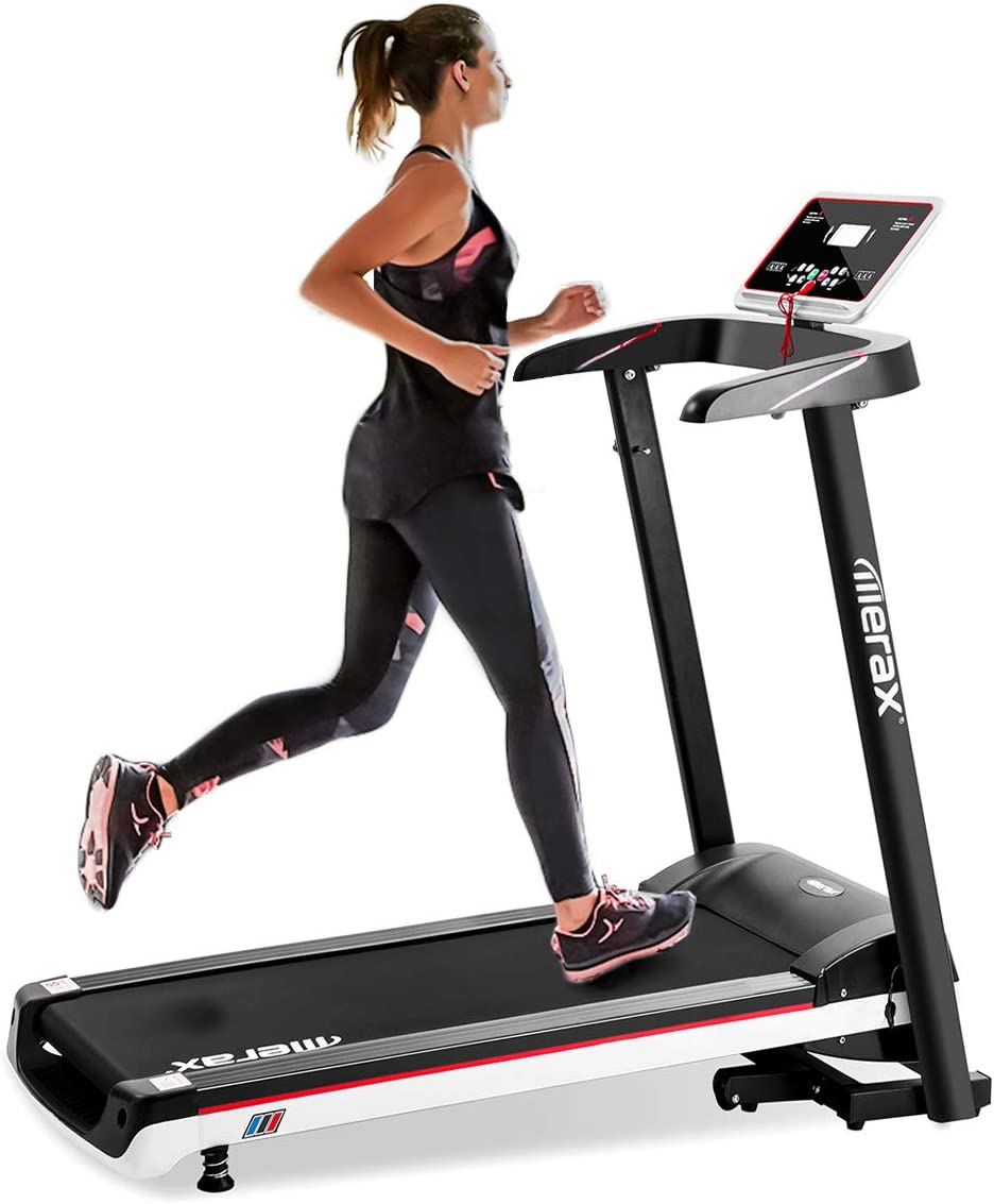 Merax Electric Folding Treadmill Low Noise Power Motorized Running Machine 12 KM H Max Speed Easy Assembly Treadmill