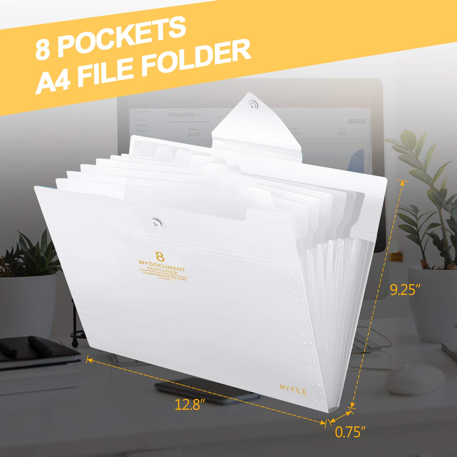 Skydue File Folders 8 Pockets Expanding File Folder Organizer with Tabs A4 Letter Size Accordion Document Paper Folder Organizer for School Office Transparent