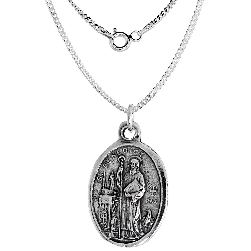 Sterling Silver St Benedict San Benedetto de Norcia Medal Necklace Oval 1.8mm Chain