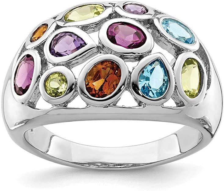 Sterling Silver Multi-Gemstone Ring Size 7 Natural Gemstones Gift For Her Free Shipping Within the USA