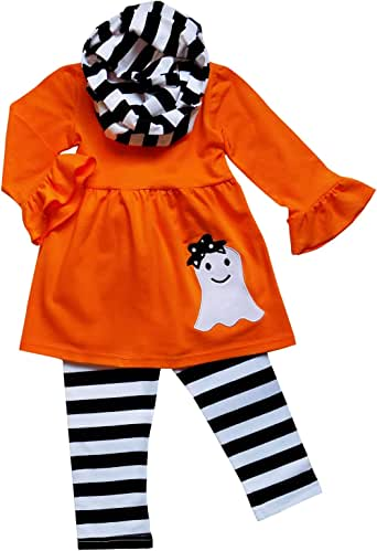 So Sydney Toddler Girls 3 Pc Halloween Fall Tunic Top Leggings Outfit, Infinity Scarf (XS (2T), Ghost Stripe Orange Black)