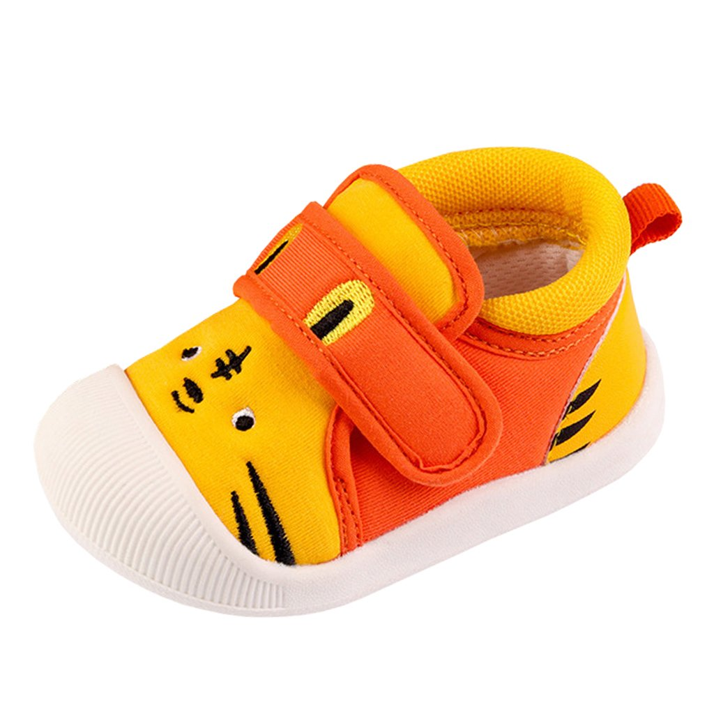 Annnowl Baby Sneakers Rubber Sole Cartoon Shoes (18 (US Size 5.5) (Insole Length-13.5 cm), Yellow Tiger)