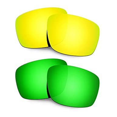 HKUCO Mens Replacement Lenses For Oakley Mainlink Red/Blue/24K Gold/Emerald Green Sunglasses o4l6Af