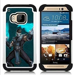 For HTC ONE M9 - Superhero Flames Art Warrior Cartoon Mask /[Hybrid 3 en 1 Impacto resistente a prueba de golpes de protecci????n] de silicona y pl????stico Def/ - Super Marley Shop -