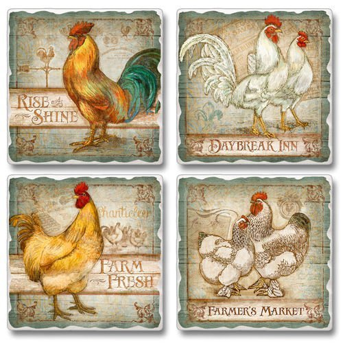 Old Rooster Inn Square Assorted Tumbled Stone Coaster Set of 4, Highland Graphics