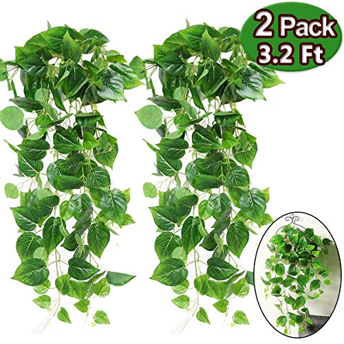 (Artificial Hanging Plants - 2 Pcs Garland Greenery Artificial Plants 3.2 Ft Artificial Tropical Plants Ivy Vine Fake Leaves Greeny Chain for Wall Office Home Garden Wedding Garland Outside Decorations)