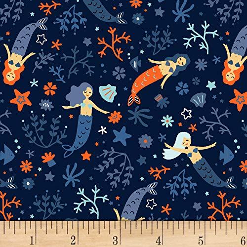 Dear Stella Designs I Don't Give A Ship Mermaid Dance-Off Fabric, Indigo, Fabric By The Yard (And Mermaid Ship)
