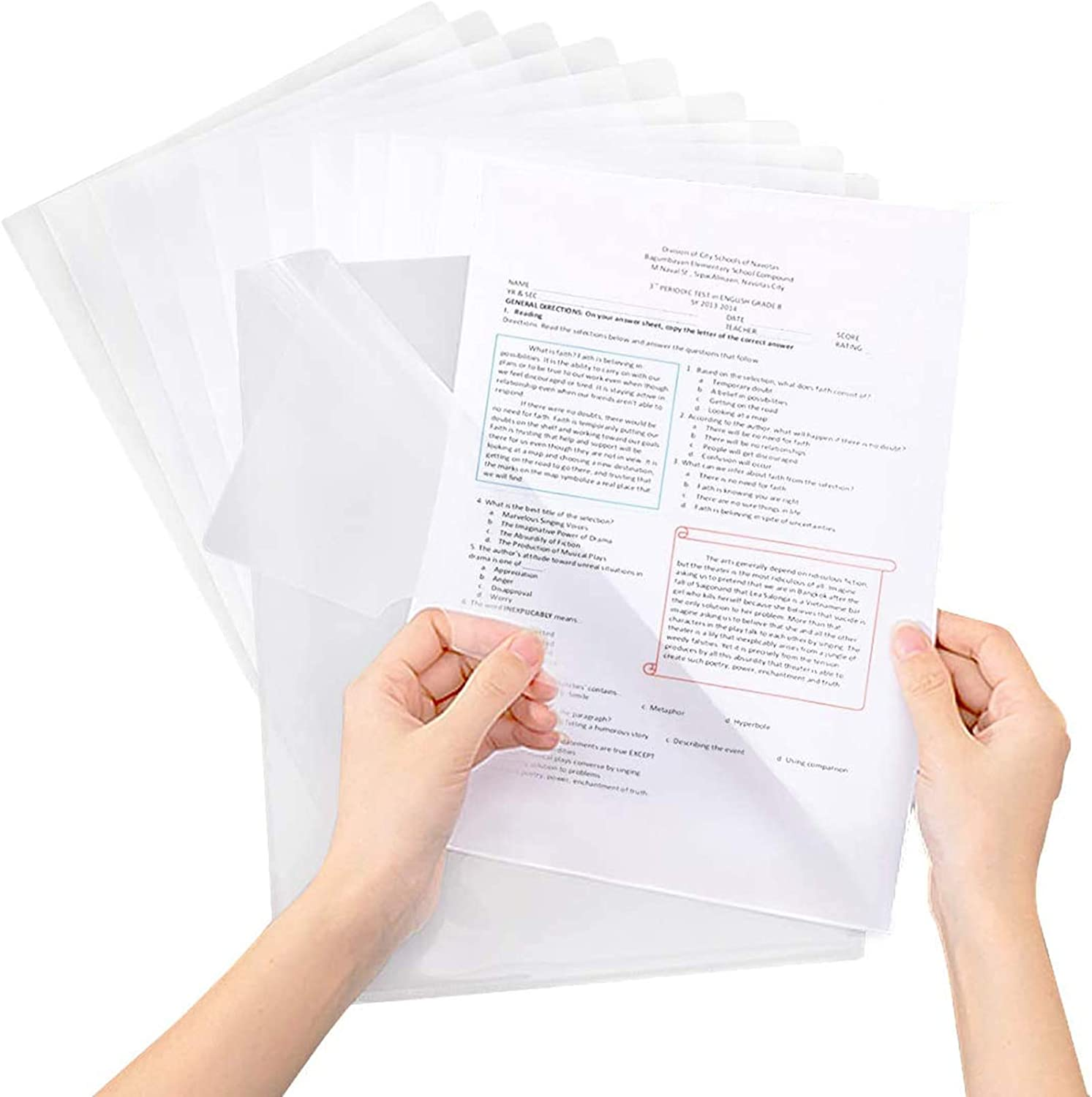 Project Pockets for Office, 60 Pcs Plastic Clear Document Folder, Copy Safe Project Folder, for Letter Size and A4