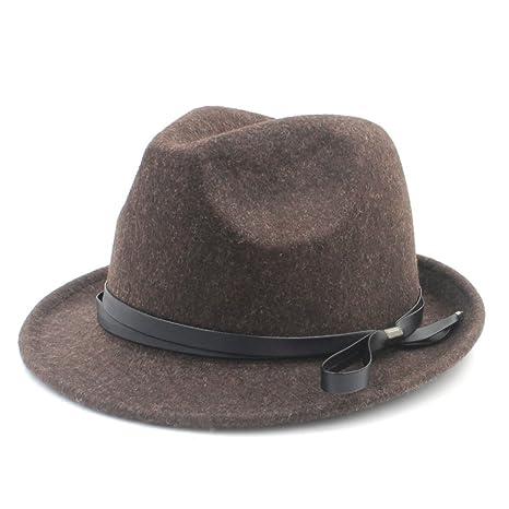 YongYeYaoBEN Con cappelli di cuoio moda per uomini donne cappello di lana  gangster fedora per elegante e109d3be6ab7