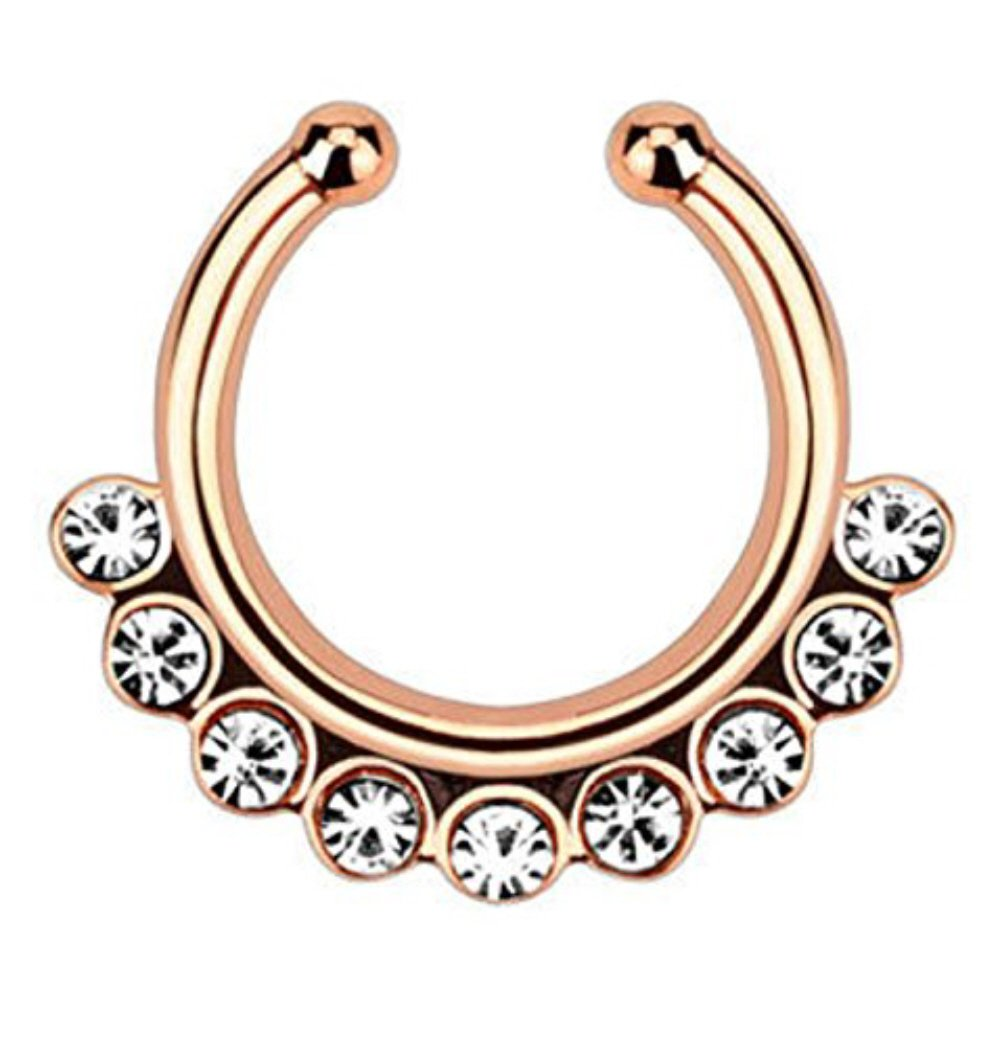 1pc Non-Piercing Line CZ Gem Septum Hanger Clip-On Fake Nose Ring Body Jewelry (Rose Gold with Clear Gems) by Lobal Domination (Image #1)