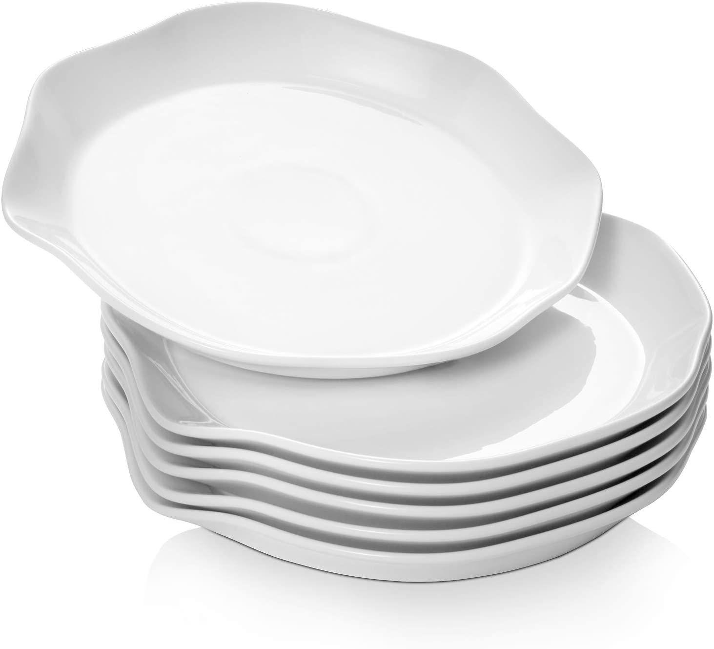 "DOWAN Dinner Plates Ceramic, 10"" White Thanksgiving Serving Dishes, Salad Serving Plates Set of 6, Serving Dishes for Pasta, Salad, Sandwiches, Steak"
