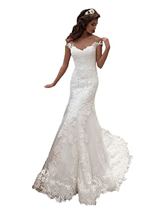 Angel Formal Dresses Women\'s V Neck Cap Sleeve Applique Lace Mermaid ...