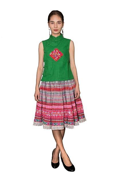 Interact China Falda Plisada Bordada Tribal Hmong Vestido Vintage Algodón 100% Artesanía #111
