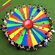 Yajun Kids Play Parachute Outdoor Rainbow Umbrella Flying Toy Team Building Activities with Handles Fun and Am