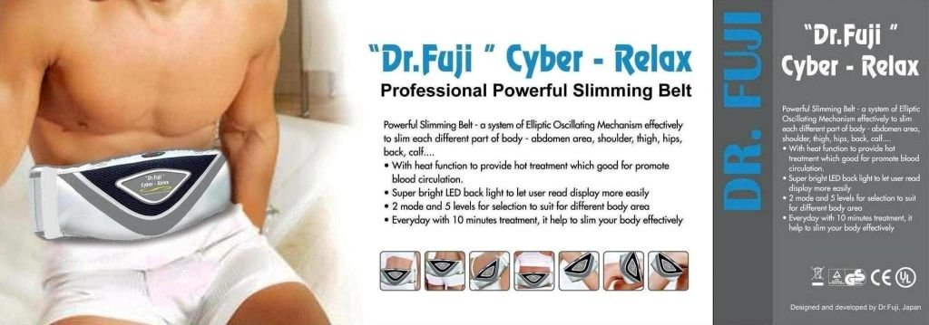 Fujiiryoki FJ-015 Dr. Fuji Cyber-Relax Professional Powerful Slimming Belt with Heat Function and Remote Control, 2 Mode and 5 Levels for Selection to Suit for Different Body Areasign