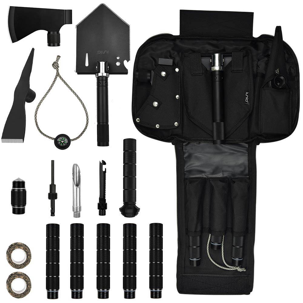 IUNIO Survival Off-Roading Tool Kit Folding Shovel Camping Axe Multitool Pickaxe with Carrying Bag for Outdoor Car Emergency (Upgrade Black) by IUNIO (Image #7)