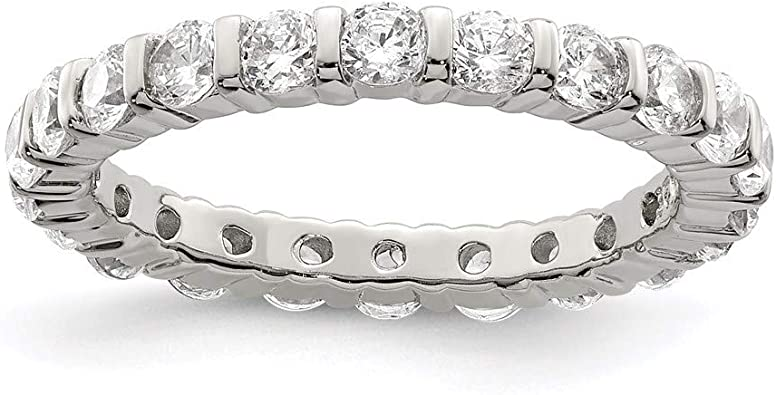 925 Sterling Silver Cubic Zirconia Cz Band Ring Eternity Wedding Fancy Fine Mothers Day Jewelry For Women Gifts For Her