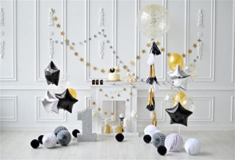 AOFOTO 8x6ft 1st Birthday Backdrop Balloon Mantel Star Decoration Photography Background Baby Boy Kid Infant Artistic