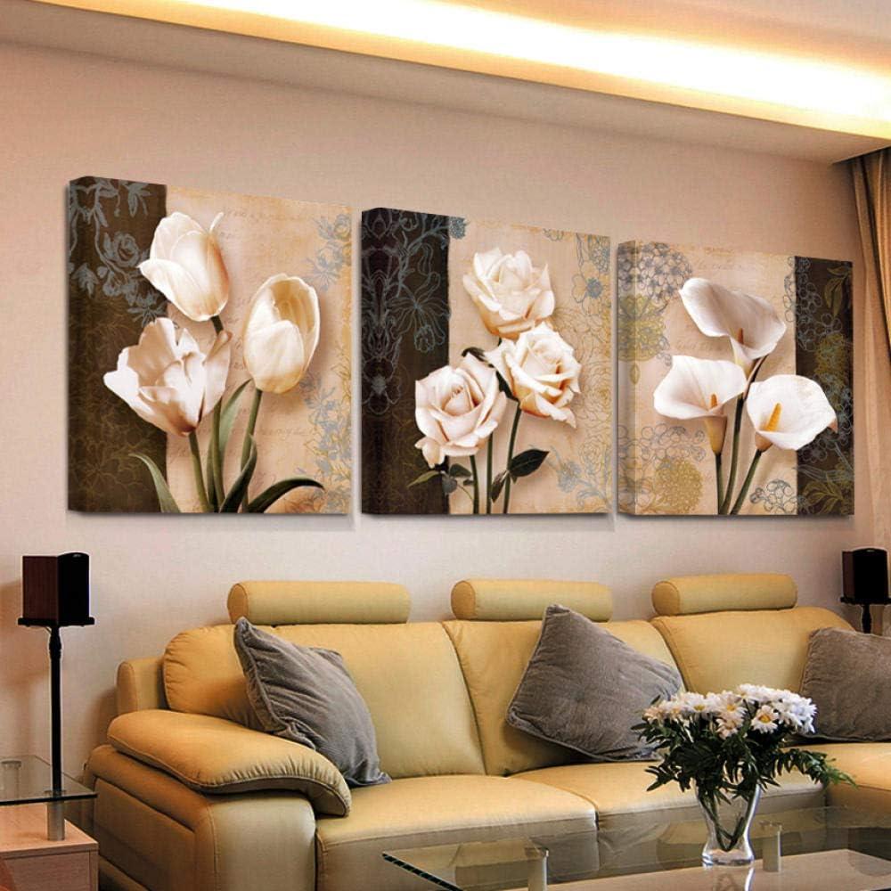 Swallow 3 Piezas de Arte de Pared decoración para el hogar Lienzo Cuadros Abstractos Flores de tulipán Pinturas para Sala de Estar Impresiones HD carteles-50 cm x 50 cm 3 Piezas sin Marco