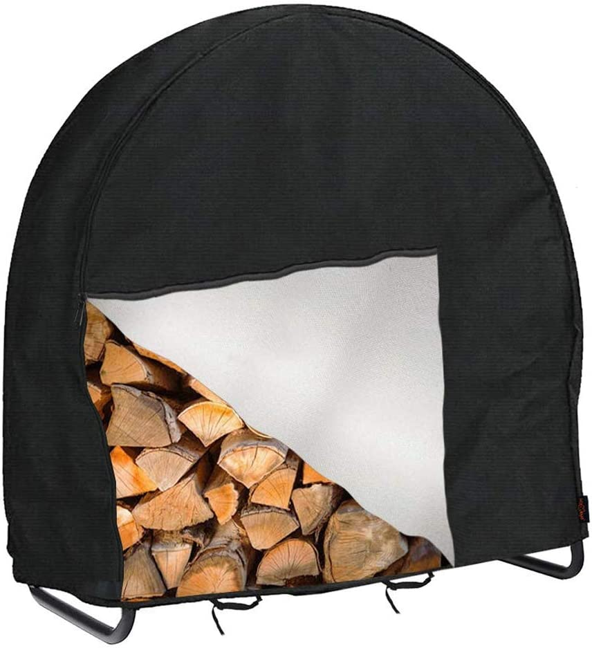 Firewood Log Hoop Cover,Wood Rack Cover Heavy-Duty 420D Oxford Waterproof Circular Dry Wood Storage Holder Cover with Zipper & Adjustable Buckle for Outdoor Woodpile Protection