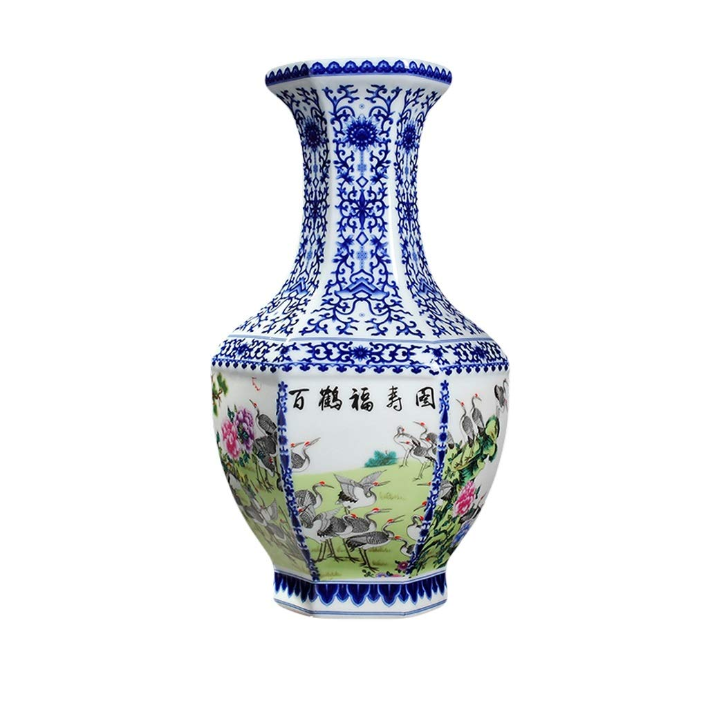 花瓶アンティークセラミック花瓶装飾六角形のボトル青と白の磁器景徳鎮中国の装飾品リビングルームフラワーアレンジメント装飾彫刻 LQX (Size : S) B07SHCMWFG  Small