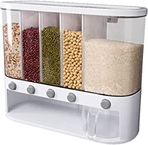 DAOGUAN Food Dispenser Wall Mounted Grain Storage Tank Dry Food Storage Box Large Capacity 5-Grid Rice Bucket with Lid Kitchen Container for Rice Nuts Beans Candy Cereals