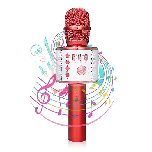 bluetooth Karaoke Mikrofon, NASUM,tragbare drahtlose dynamisches Mikrofon mit Lautsprecher für Erwachsene und Kinder für Spra