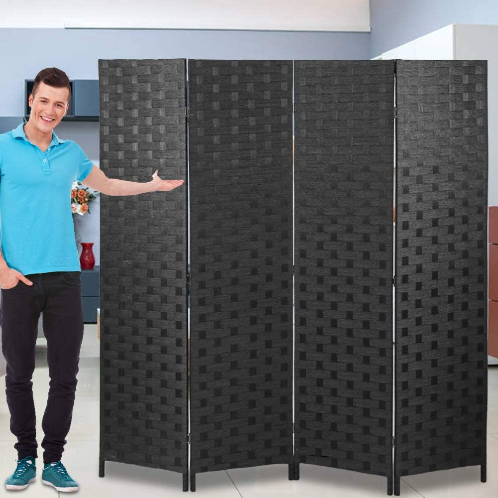 Room Dividers and Folding Privacy Screens 4 Panel 6 ft Foldable Portable Room Seperating Divider, Handwork Wood Mesh Woven Design Room Divider Wall, Room Partitions and Dividers Freestanding, Black -