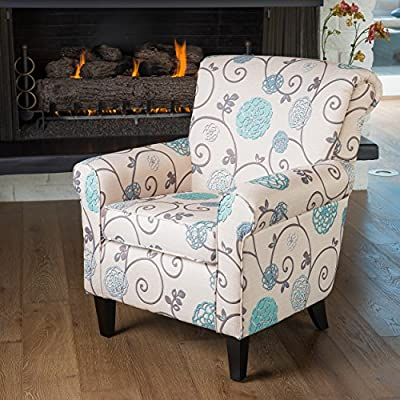 Christopher Knight Home Roseville Blue Floral Accent Lounge Chair, Decorative Club Chair in Blue Flower and Vines Pattern - STYLISH HOME DECOR: This lovely club chair will look stunning in your home. The Roseville Accent Chair complements any furniture set. Whether you place it in your living room, bedroom, guest room or den, this chair is sure to be the most eye-catching piece of furniture in the room. CHARMING AQUA BLUE FLORAL PRINT: Our colorful chair features a floral pattern in varying shades of light turquoise flowers reminiscent of stencil prints. Warm earth tone vines and leaves curl and loop across the chair's cream colored fabric. TIMELESS CENTERPIECE: A traditional floral pattern is always in style and the sturdy hardwood frame means you'll enjoy your armchair for years to come. This upholstered chair's polyester fabric is also easy to clean. Just spot or wipe clean. - living-room-furniture, living-room, accent-chairs - 619V5rHqcgL. SS400  -