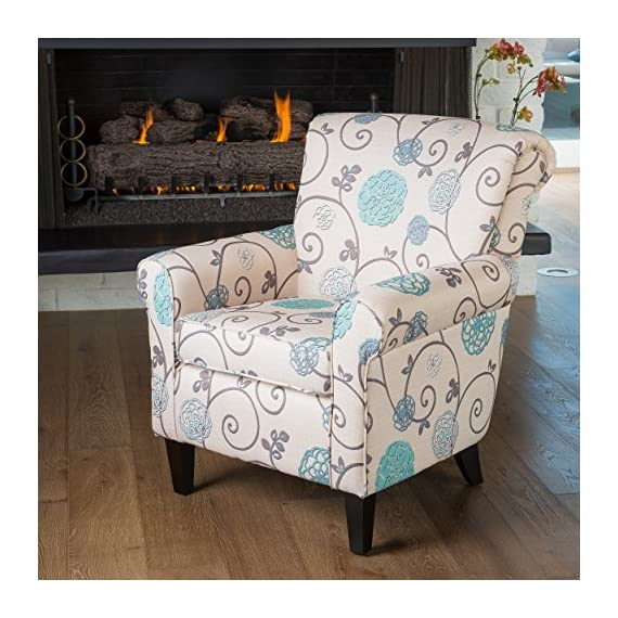 Christopher Knight Home Roseville Blue Floral Accent Lounge Chair Decorative Club In Flower