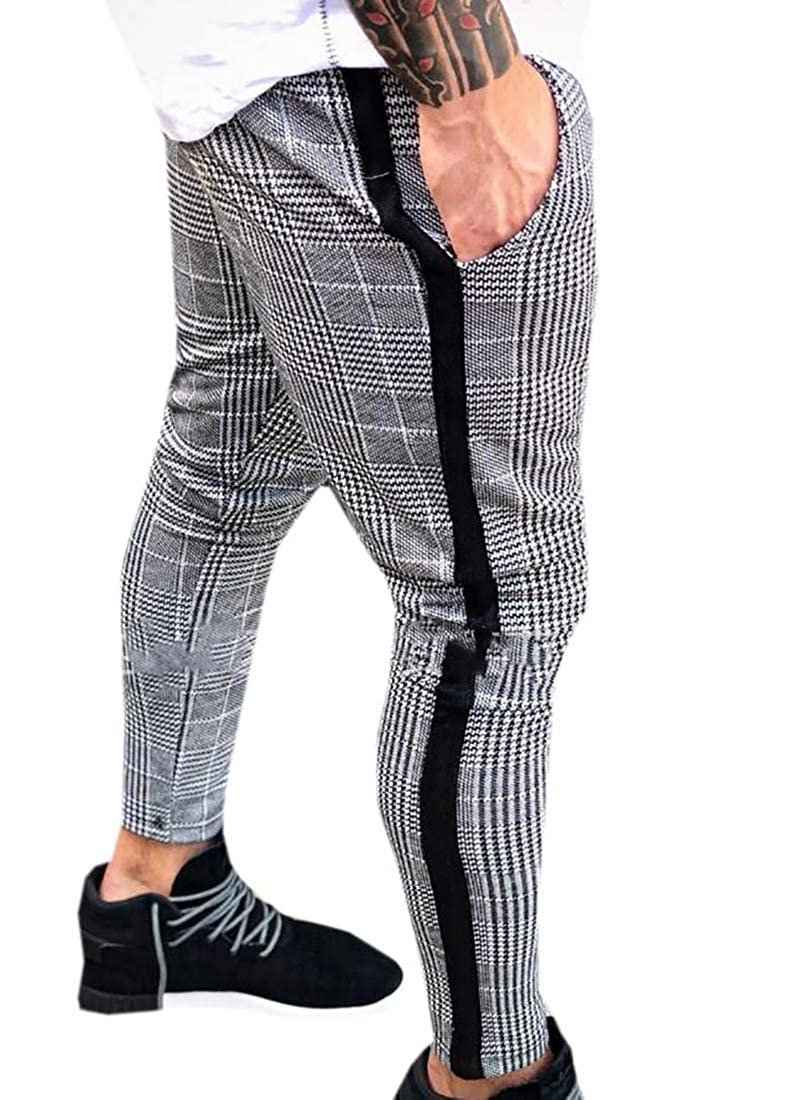 omniscient Men Western Plaid Checked Flat Front Flag Pattern Pants Retro Checks Trousers