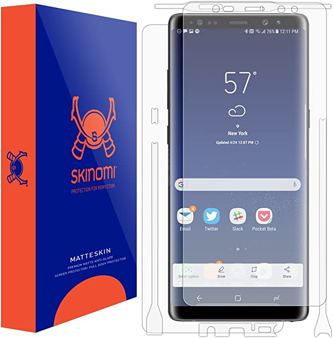 Full Coverage Matte Skin Anti-Glare HD Film Skinomi Matte Full Body Protector Compatible with Samsung Galaxy Note 8 Screen Protector + Back Skin Cover