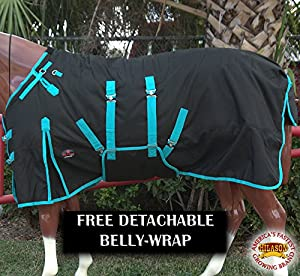 "HILASON 72"" 1200D Waterproof Horse Winter Blanket Belly WRAP Black Turquoise"
