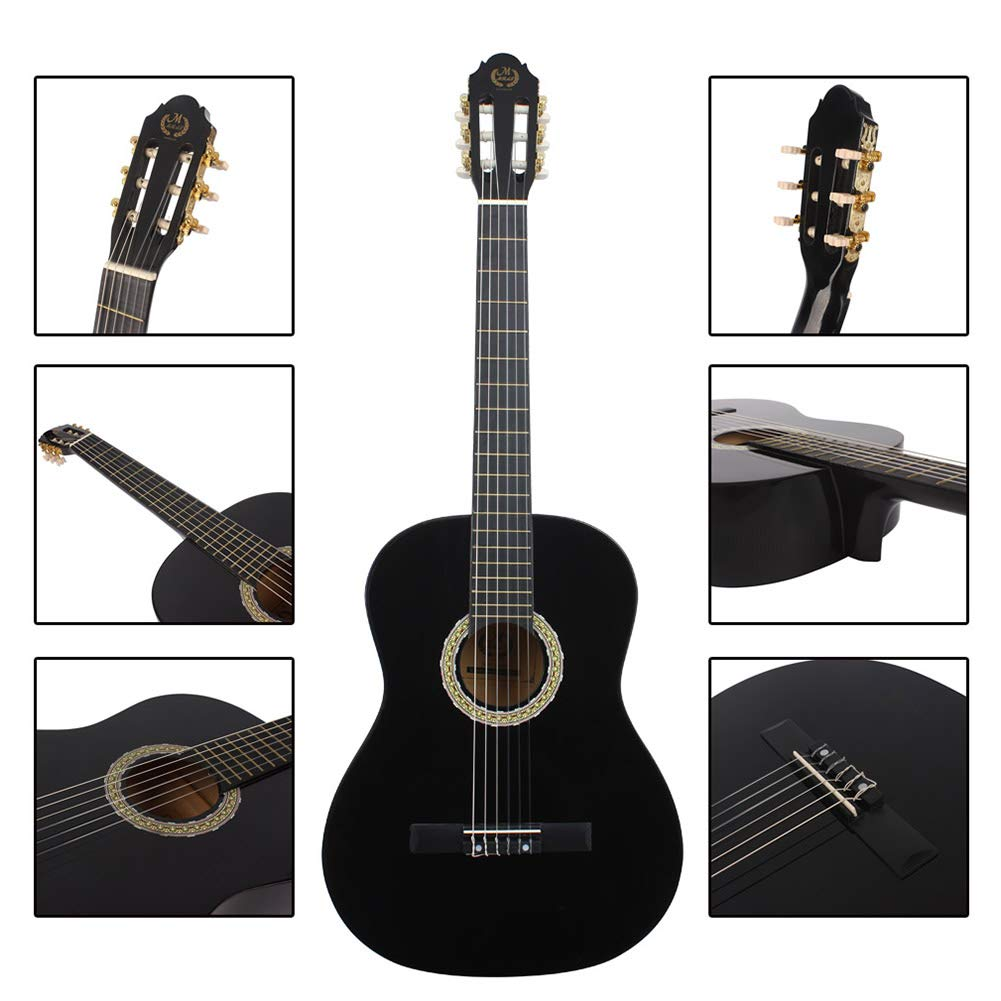 39in Classic Wooden Guitar, Full Size Student Beginners Guitar with Storage Bag Shoulder Strap Pitch Pipe Tuner String Kit Black