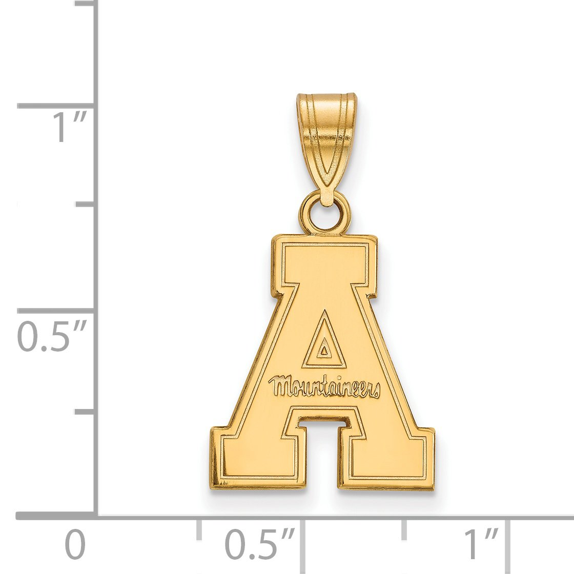 Appalachian State Mountaineers School Letter Logo Pendant Gold Plated Sterling Silver 17x14mm