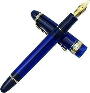 Wingsung 699 Vaccum Filling Fountain Pen, Iridium Medium Nib Blue Transparent Acrylic Solid Section Ink Pen Gift Box