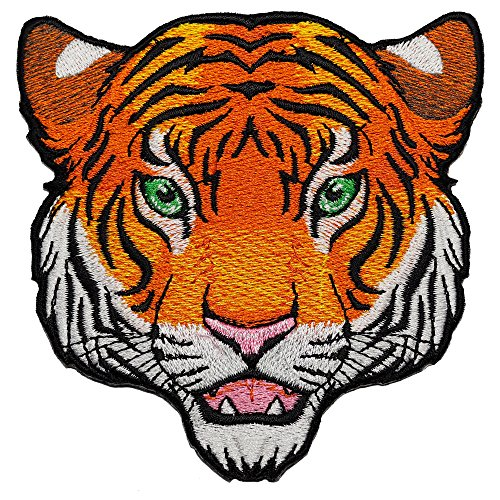 Fynnrider Patch #0213 Tiger Head Patch (Full Color) DIY 4 Inches Tall DIY Embroidered Iron on / Sew on Patch Tigers Embroidered Towel