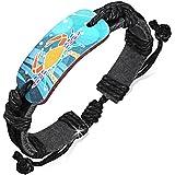 Zense - Bracelet cuir noir ajustable pour homme avec motif multicolore du signe astro zodiaque Cancer ZB0184